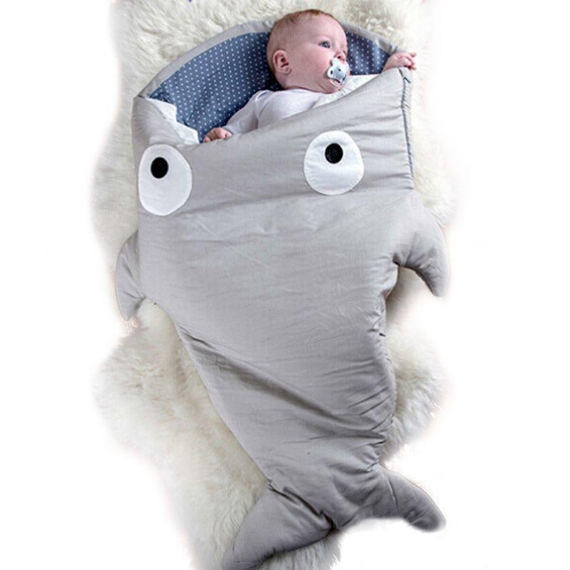 7 Colors Baby Sleeping Bag Soft Cotton Thick Blanket Winter Sweet Cartoon <font><b>Shark</b></font> Babies Newborn Infant Kids Sleeping Bags Gifts