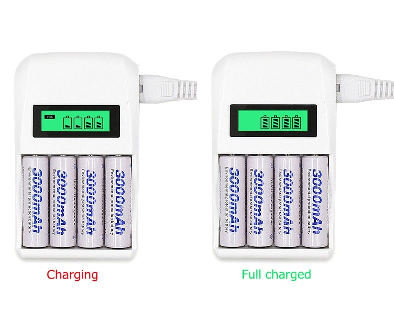 4 Slots Smart Intelligent Battery Charger C907W For AA / AAA NiCd NiMh Rechargeable Batteries LCD Display