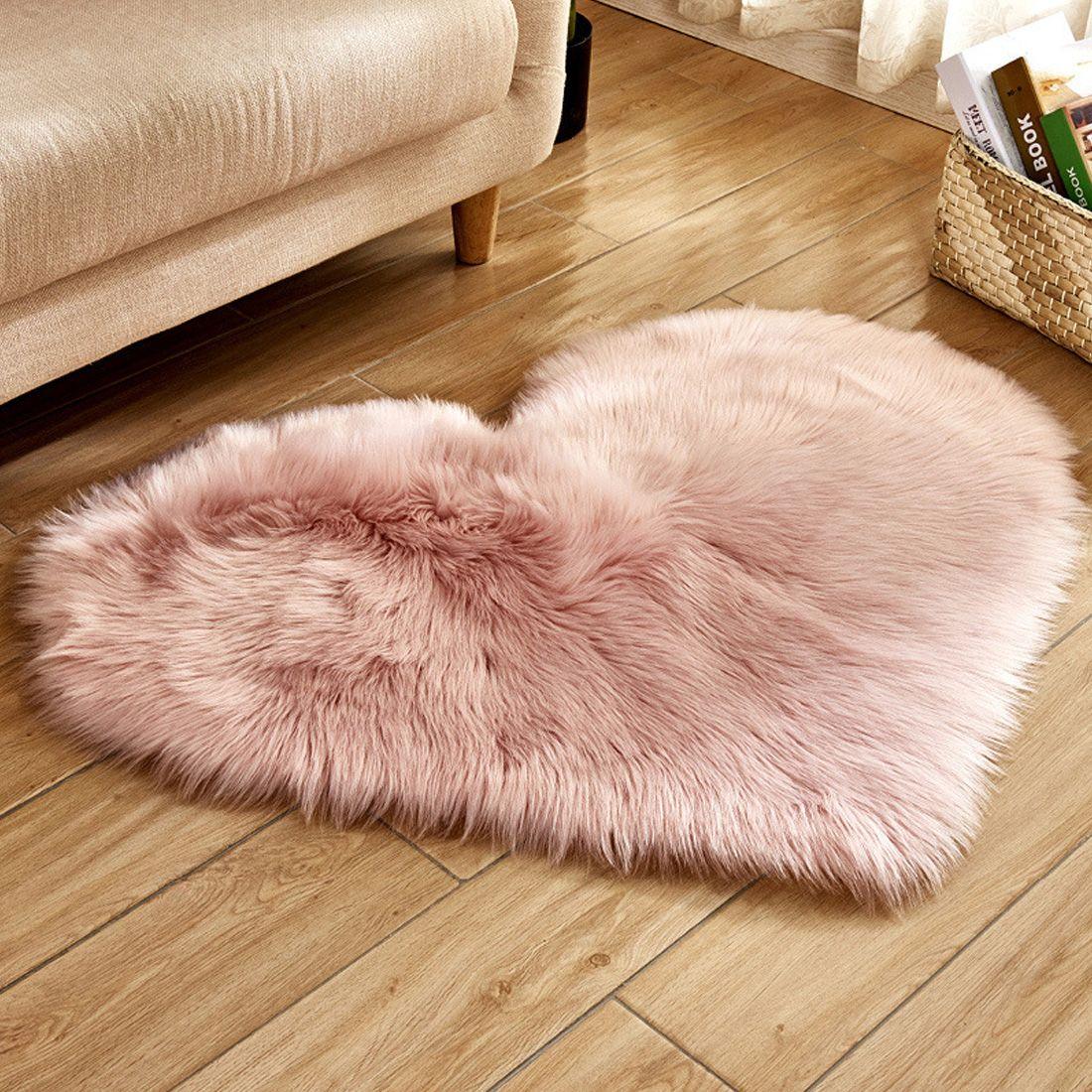 Amour coeur tapis fourrure artificielle peau de mouton poilu tapis chambre salon décor doux Shaggy zone tapis