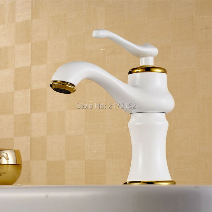 Free Shipping Luxury Grilled White Painted Bathroom Faucet Moden Single Handle Brass Basin Sink Mixer Tap W-008