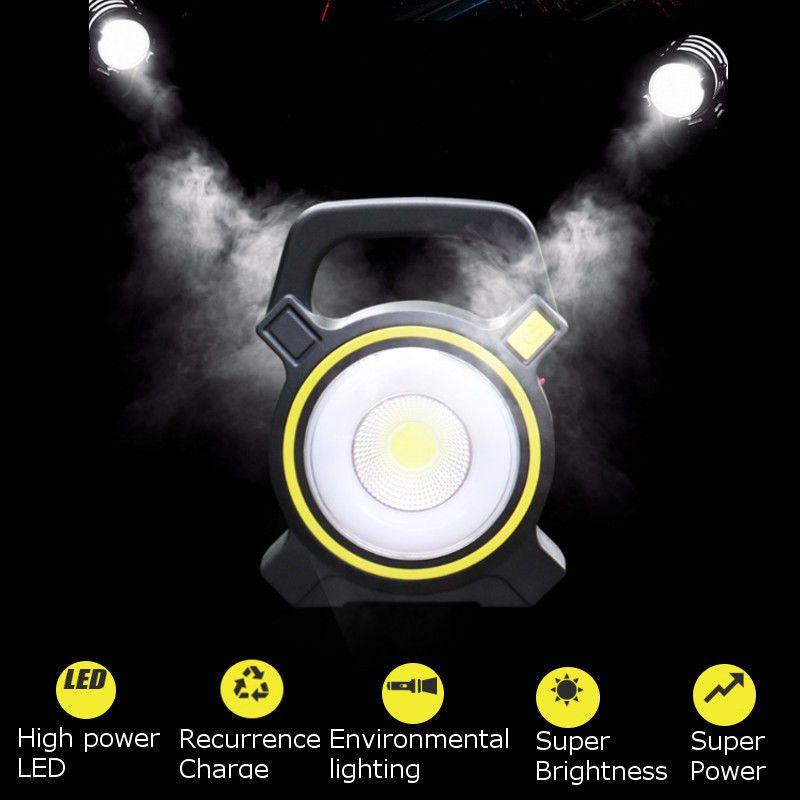 Rechargeable 30W Solar COB LED Portable Flood Light  Outdoor Garden Work Spot Lamp USB