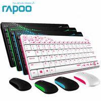 Rapoo impermeable silencioso 2,4g Multi-Media Mini teclado inalámbrico y ratón Combos con 1000 dpi para PC Mac computadoras portátiles computadoras de escritorio