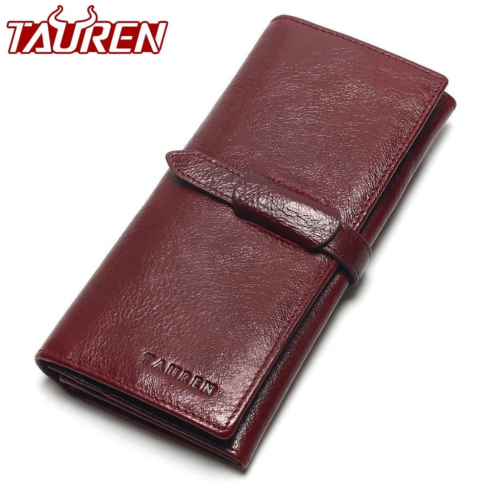 Tauren Retro Wine Red Color Wallets 100% <font><b>Genuine</b></font> Cowhide Leather High Quality Women Long Wallet Coin Purse Vintage Designer Male