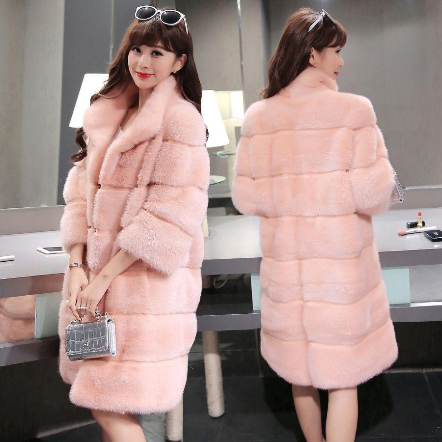 2017 зима 5 цветов Элегантный розовый/белый пальто с искусственным мехом женская утепленная Длинные рукава женские пальто волосатые пальто В...