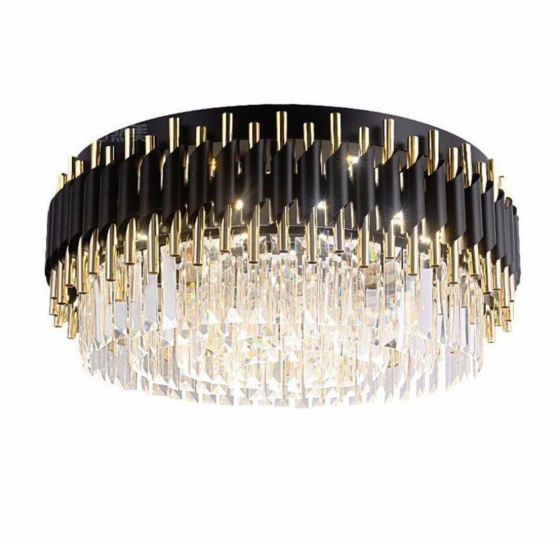 Luxus Schwarz Kronleuchter Für Luxus Wohnzimmer Kristall Leuchte Runde Moderne LED schlafzimmer Kronleuchter