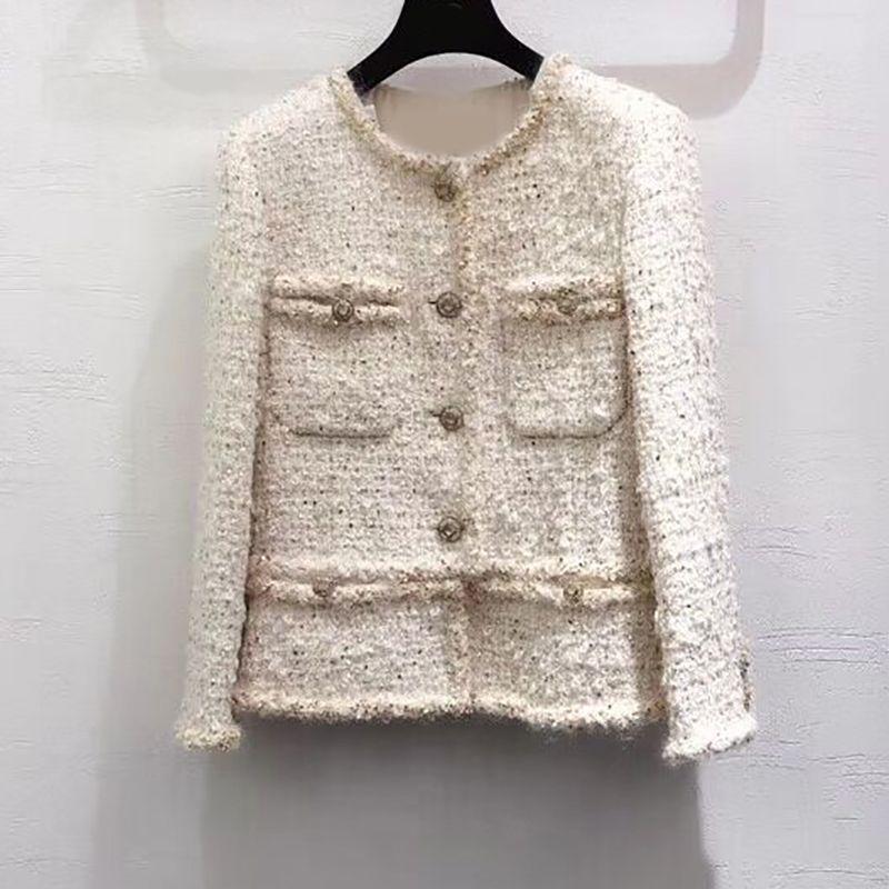 2019 neue frauen herbst und winter jacke rundhals langarm mode tasche nähte high-end-elegante jacke hemd