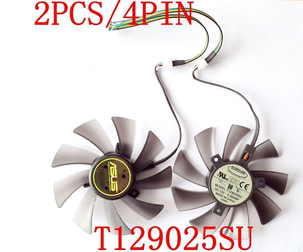 Livraison gratuite T129025SU 12 V 0.38A 4PIN pour ASUS HD7970 HD7950 GTX680 DirectCU II ventilateur de carte graphique