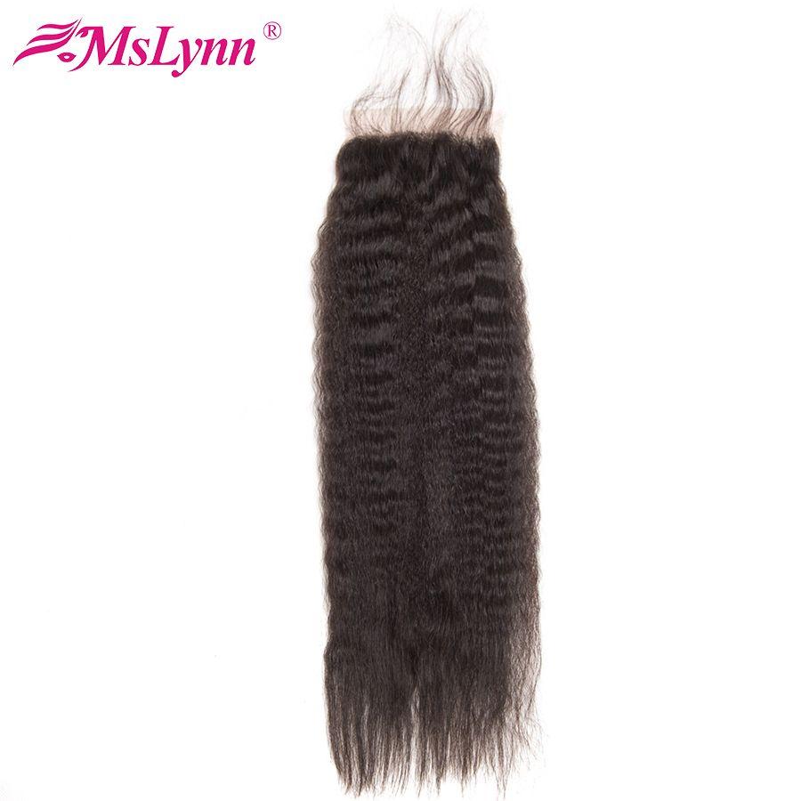 Mslynn crépus fermeture droite cheveux brésiliens fermeture avec bébé cheveux 4x4 cheveux humains fermeture pièce Non Remy cheveux couleur naturelle