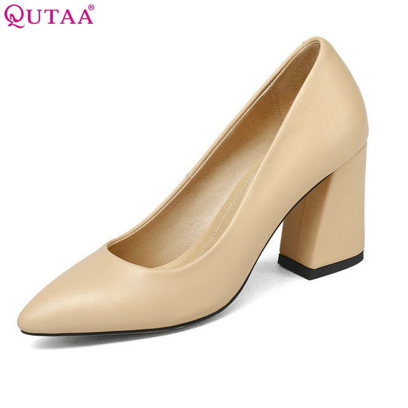 QUTAA 2018 Shoes Women Summer Square High Heel Women Pumps PU leather Pointed Toe Black Ladies Wedding Woman Shoes Size 34-43