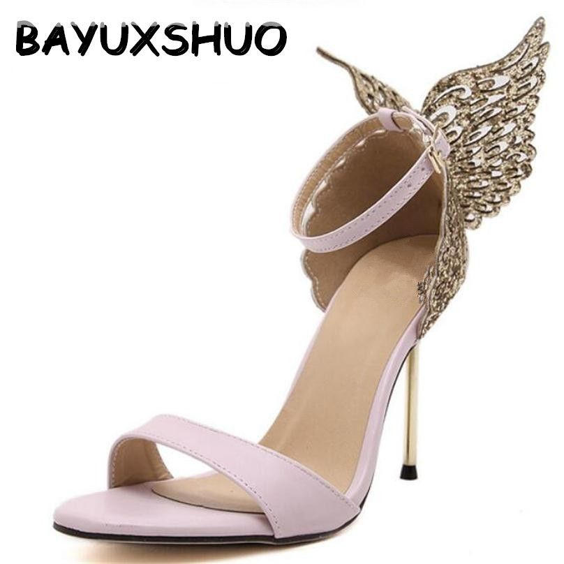 BAYUXSHUO 2018 New Fashion Women Valentine Shoes Bronzing Sequins Big Bowknot High Heels Sandals Stiletto/Party Wedding Sandals