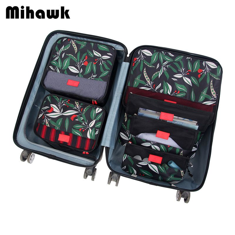 Mihawk 6Pcs/set Packing <font><b>Cube</b></font> Travel Bags Portable Large Capacity Clothing Sorting Organizer Luggage Accessories Supplies Product