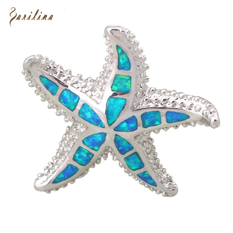 Plus noble starfish sea star Bleu Opale de Feu 925 Bijoux de Mode D'argent pendentif pour femmes P238