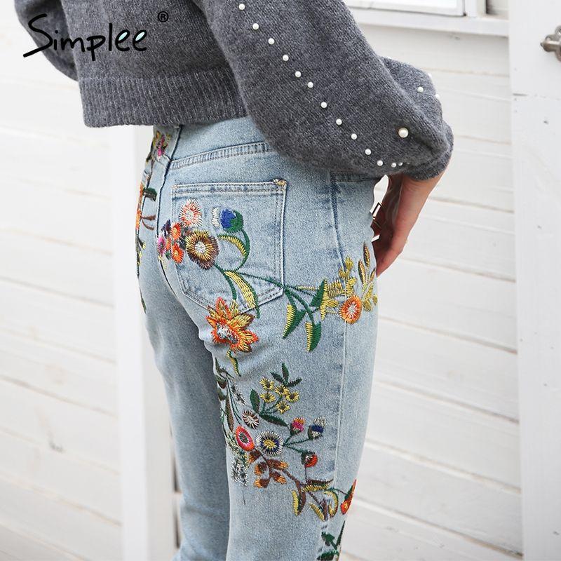 Simplee Floral embroidery women jeans pants Casual high waist jeans <font><b>femme</b></font> Light blue denim skinny jenas pencil trousers 2018