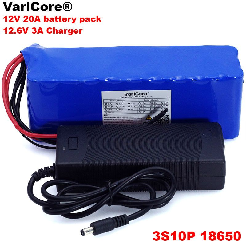 VariCore 12 v 20000 mah 18650 lithium-batterie grubenlampe Entladung 20A 240 watt xenon lampe Batterie pack mit PCB + 12,6 v 3A Ladegerät