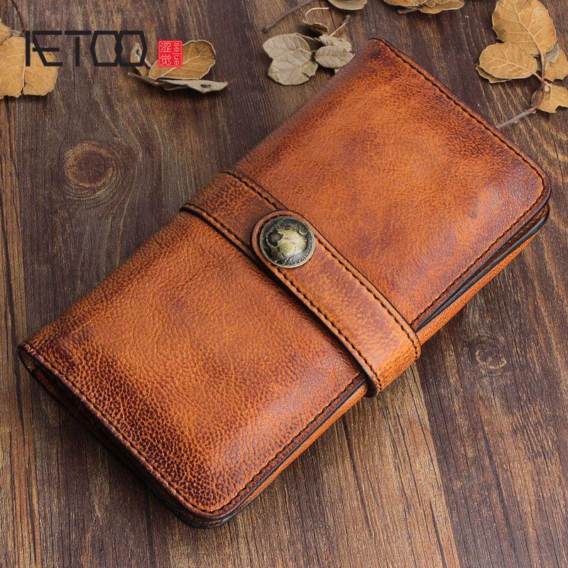 AETOO Original design handmade retro leather men's long wallet first layer of leather handbag clasp soft leather