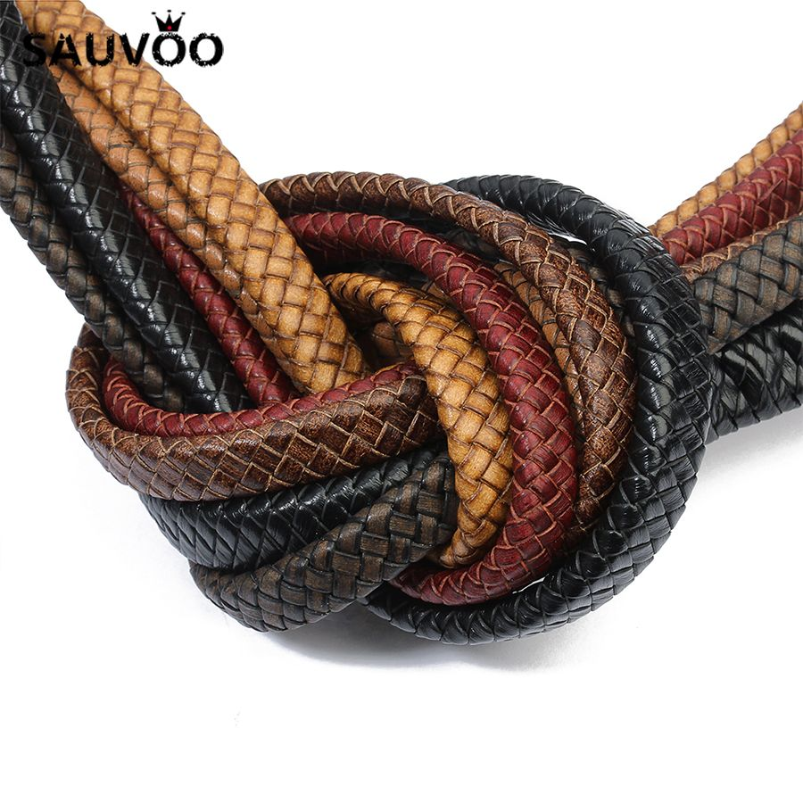 SAUVOO 1 Yard/lot Flat Wide Braided Genuine Leather Cords Ropes 8mm 10mm fit Wrap Necklace Bracelet DIY Jewelry Making Findings