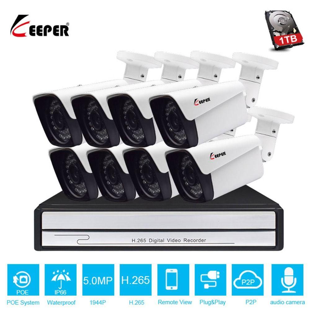 Keeper HD 8CH 5MP POE sicherheit kamera System Kit H.265 POE IP Audio Kamera Im Freien Wasserdichte cctv Video Überwachung NVR set