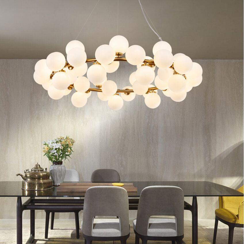Magie Bean Moderne LED Anhänger Kronleuchter Lichter Für Wohnzimmer Esszimmer G4 Gold/Schwarz Weiß Glas Kronleuchter Lampe leuchten