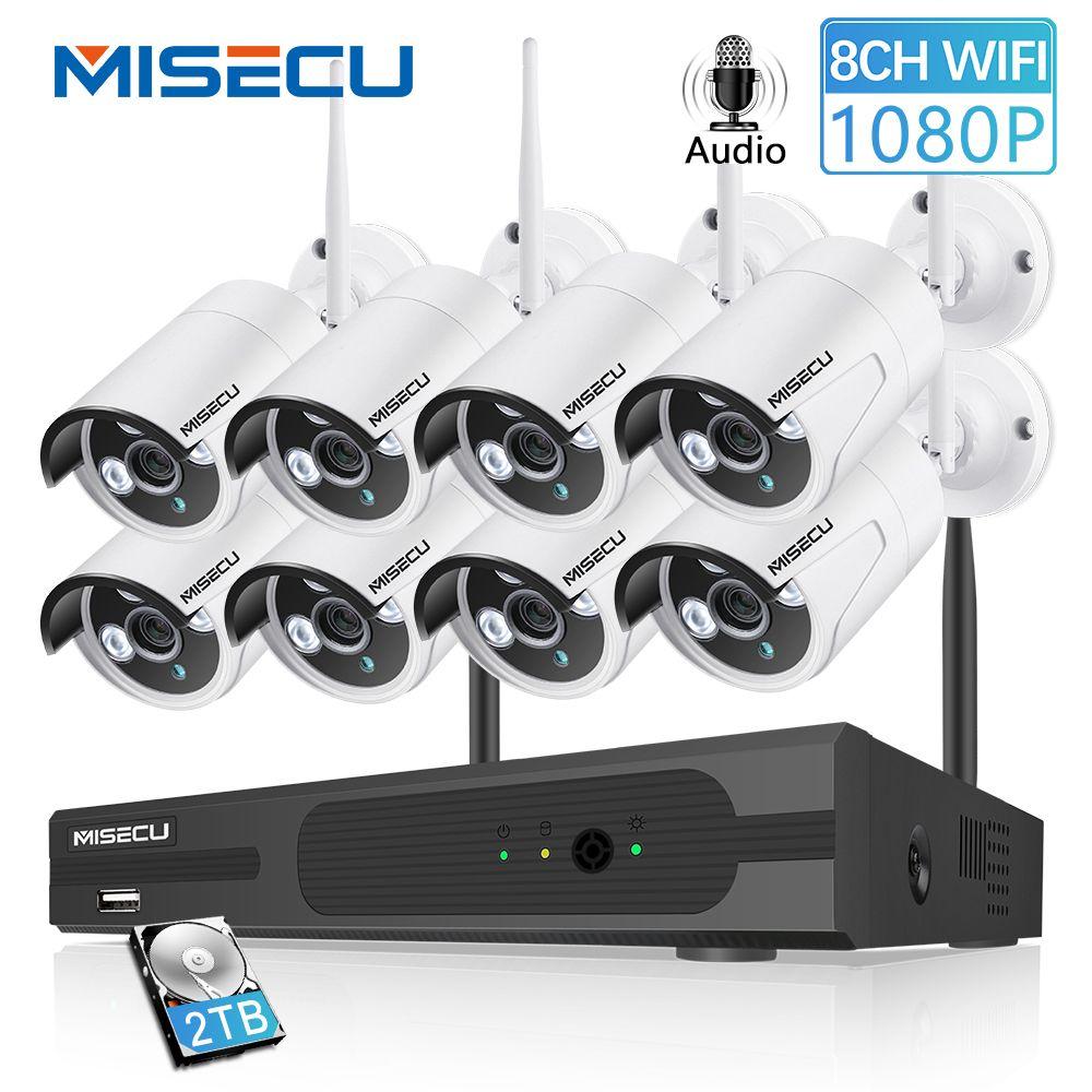 MISECU 8CH 1080 P CCTV Wireless System Audio Record 4/8 PCS 2.0MP IR Outdoor P2P Wifi IP Sicherheit kamera Video Überwachung Kit