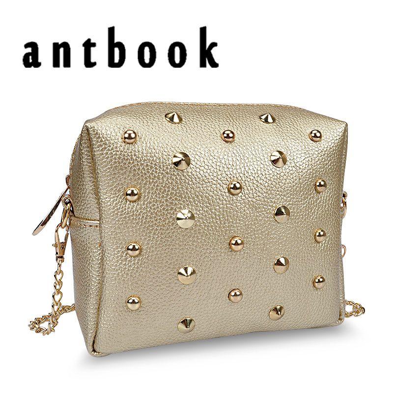 Lowest price ! New fashion Rivet women shoulder handbag PU leather Crossbody bag designer vintage women mini chain messenger bag