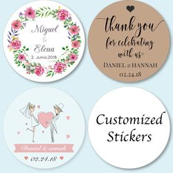 100 Pieces, Customized Personalized Wedding Stickers, Logos, Photo, Favor Boxes Tags, Cupcake, Bottle Labels, Invitations Seals