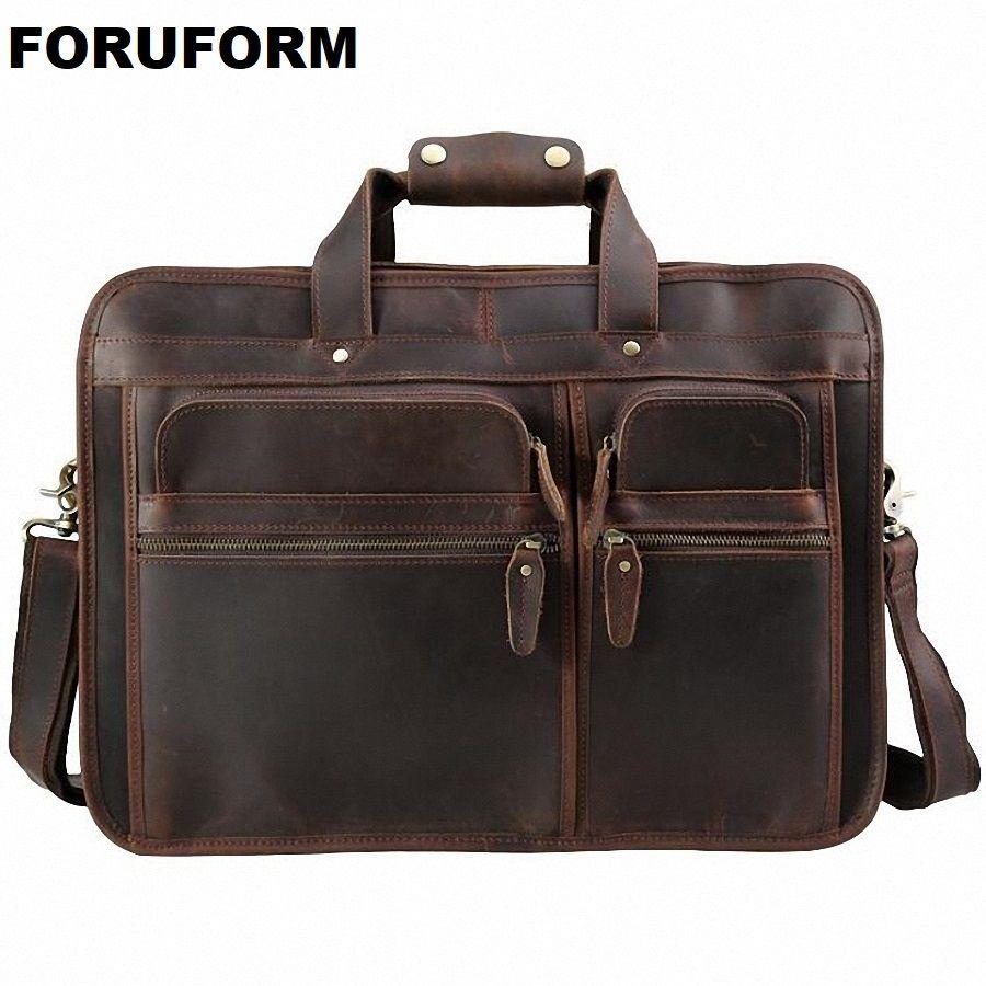 Vintage 100% Genuine Leather Men Crazy Horse Leather Briefcase Messenger Bag 15-17 Inch Laptop Shoulder Bags Portfolio LI-1982