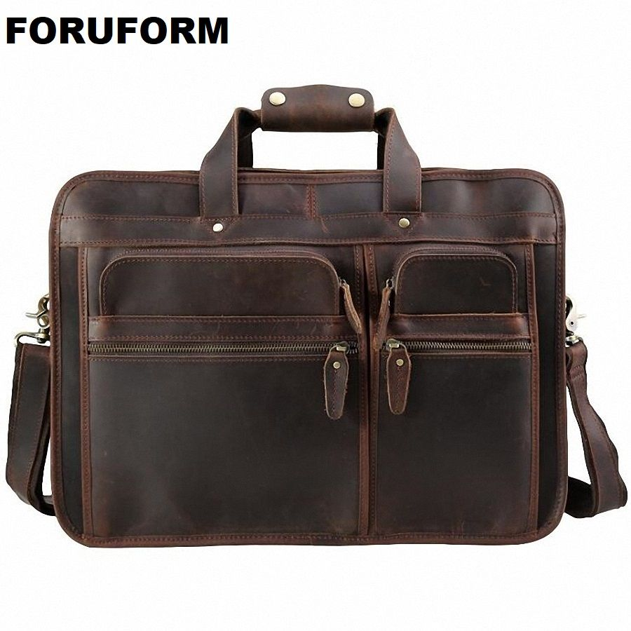 Vintage 100% Genuine Leather Men Crazy Horse Leather Briefcase Messenger Bag 15-17 Inch Laptop Shoulder Bags Portfolio LI-1982