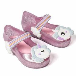 Melissa 2018 unicornio nuevo verano de Mini niñas Dargon jalea sandalias boca de los pescados zapato niña antideslizante niños sandalia del niño