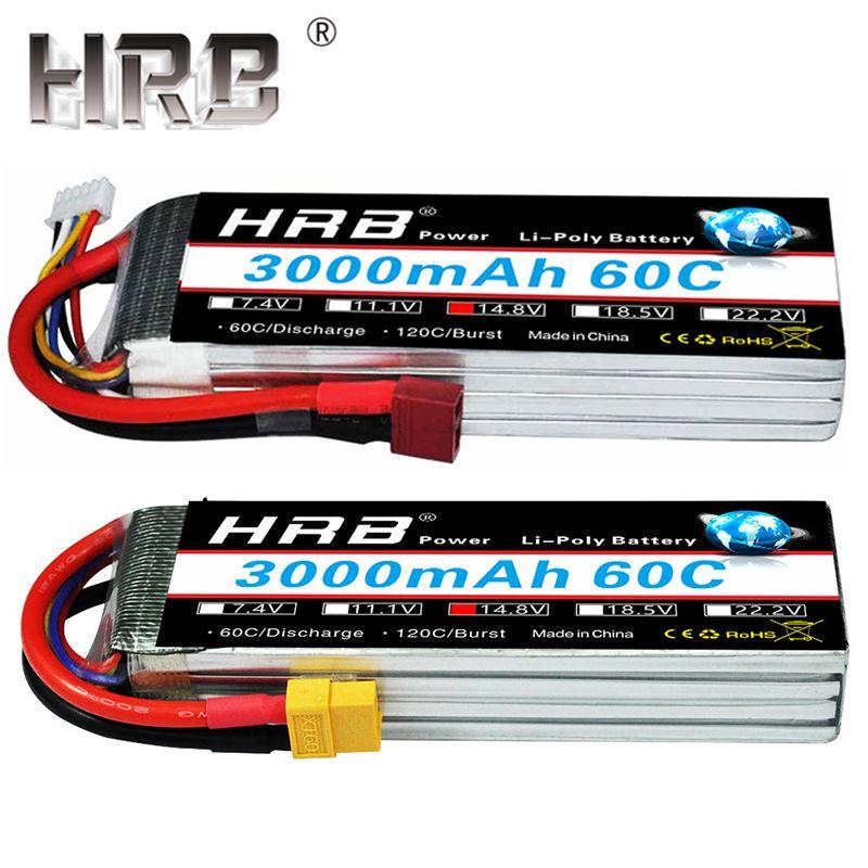HRB Lipo batterie 14.8V 3000mAh 4S 60C XT60 EC5 femelle Dean T Plug pour RC quadrirotor hélicoptère avion li-polymère Drone pièces