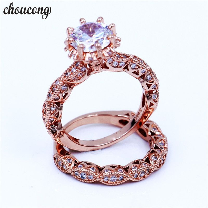 choucong Vintage Female ring 3ct Diamonique cz Rose Gold Filled 925 Sterling silver Engagement Wedding Band Ring for women Gift