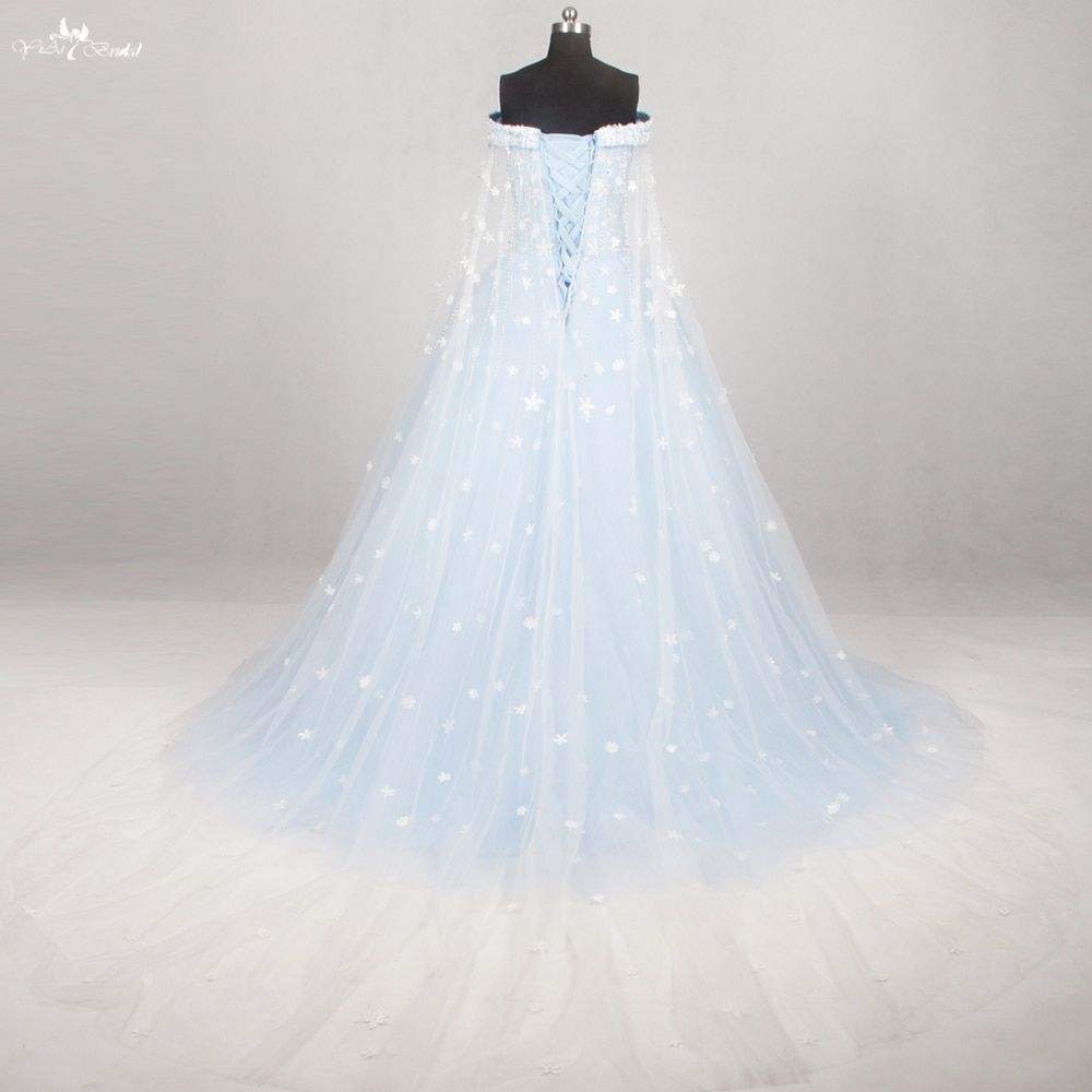 RF48 Real Pictures Yiaibridal Watteau Train Blue And White Florals Ball Gown Light Blue Off The Shoulder Long Prom Dresses