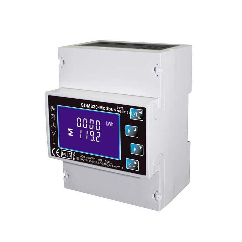 Single/Three Phase Multi Function Din Rail Digital Energy Meter , Kwh Electricity Meter With RS485 Modbus Output SDM630 Modbus