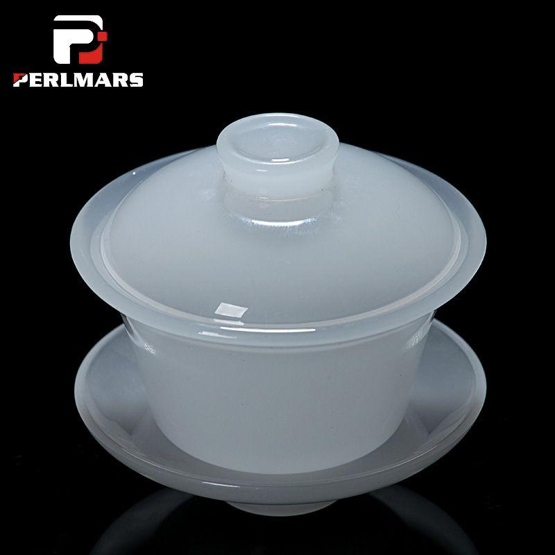 130 ml Boutique Weiße Jade Porzellan Gaiwan Chinesische Gesunde Kung Fu tee-Set Tee Keramik Terrine Teetasse Master Schalenabdeckung schüssel