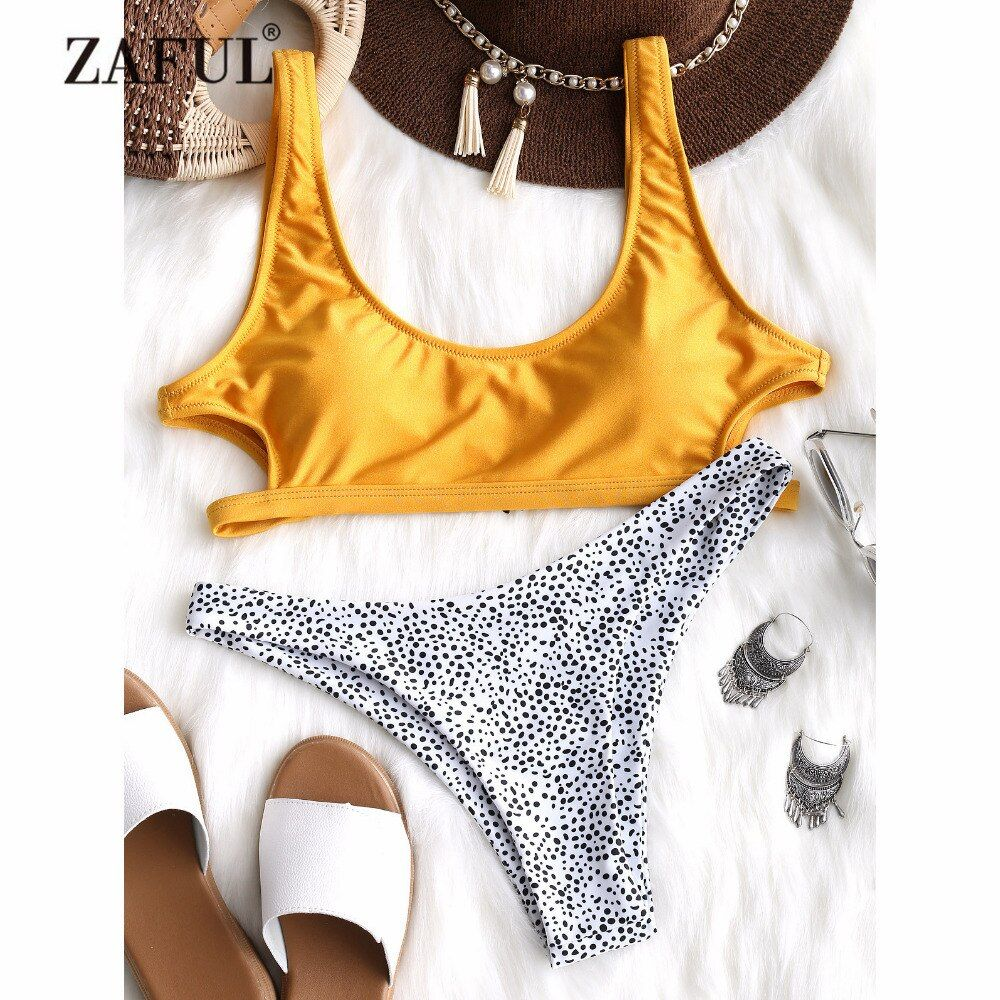 ZAFUL Sexy <font><b>Leopard</b></font> Bikini Cut out Bikini Set Yellow U Neck Swimwear Women Padded Swimsuit Thong Bikini Swimming Suit Biquni