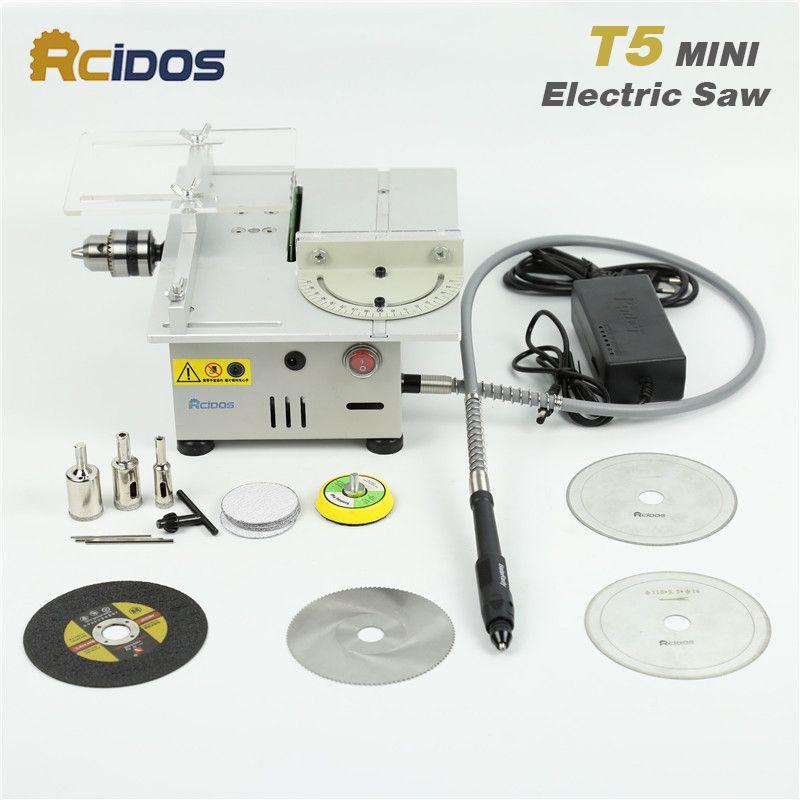 T5 RCIDOS Mini scie sur table/12 v-24 v portable BRICOLAGE bois machine De Découpe bureau bouddha perles machine à polir métalliques/coupeur Acrylique