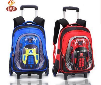 Car Wheeled backpack for kids School backpack On wheels Trolley School backpacks bags kid's School Rolling backpack for boy