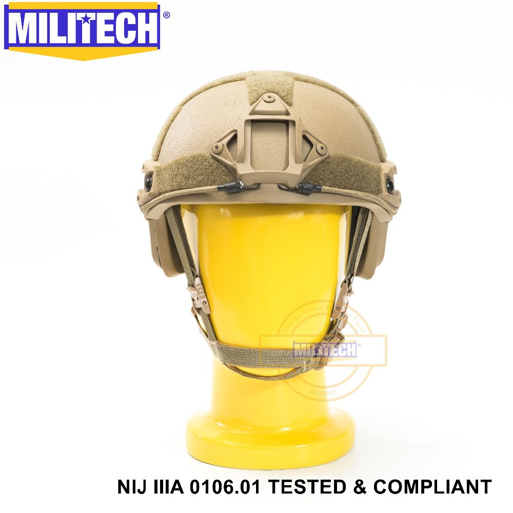 ISO Certified MILITECH CB OCC Dial NIJ Level IIIA 3A FAST High Cut Bulletproof Aramid Ballistic Helmet With 5 Years Warranty