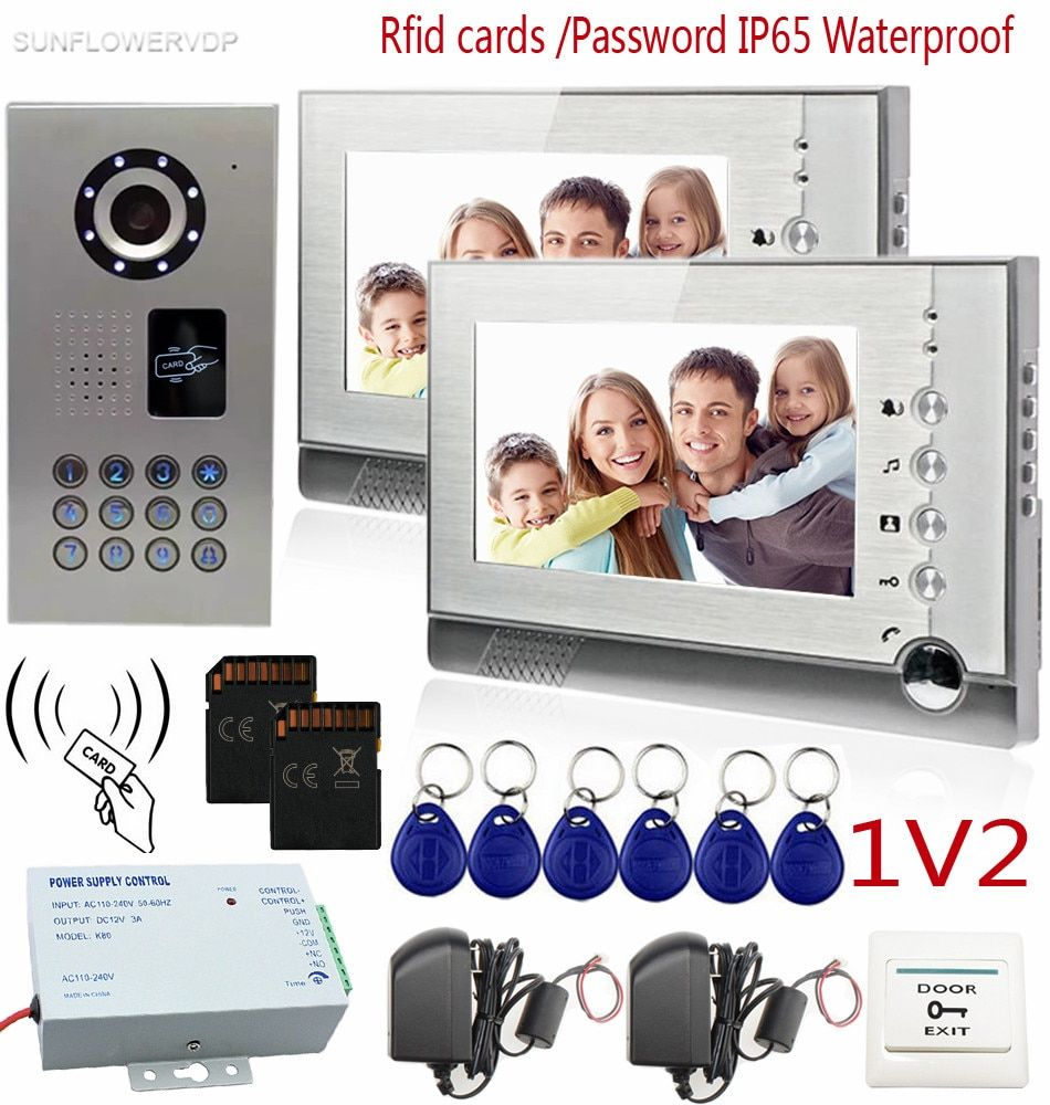 SUNFLOWERVDP Video Intercom With Recording IP65 Waterproof Rfid Card/Code CCD 700TVL Intercom System 8GB SD Card 7