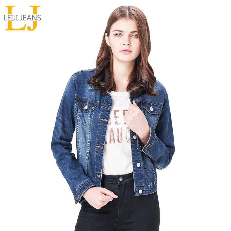 Leiji мода S 6xl 2018 плюс Размеры Для женщин Весенняя Однотонная синяя хлопковая джинсовая куртка свет мыть женщина воротник с длинными рукавами ...