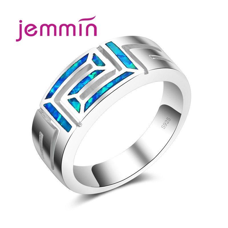 2019 nouvelle mode Vintage élégant océan bleu opale anneau 925 en argent Sterling couleur argent bijoux fins anneaux pour femmes femme fête
