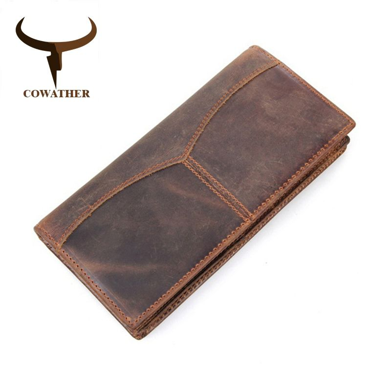 COWATHER top quality men wallets luxury crazy Horse genuine leather long vintage dollar male carteira masculina original brand