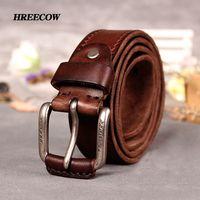Antiguo italiano 100% mejores cinturones de cuero de vaca hebilla de aleación de cuero genuino diseñador cinturón vintage pin hebilla ceinture hombres cinturón