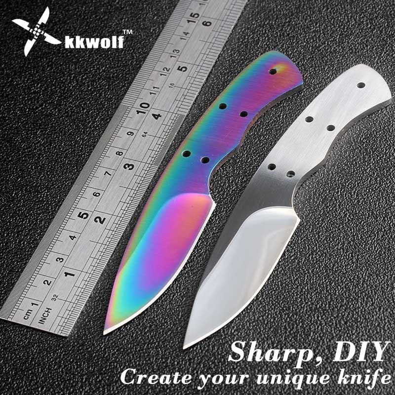 KKWOLF bricolage couteau de poche blancs 440c lame fixe couteau de chasse couteau de camping lame de couteau billet extérieur EDC auto-défense survie