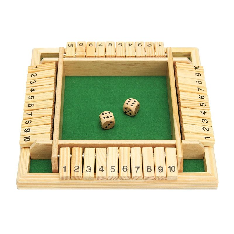 Wooden Traditional Four Sided 10 Numbers Pub Bar Board Dice Game Set Kids Family Christmas Gift Educational Toys Best Gift