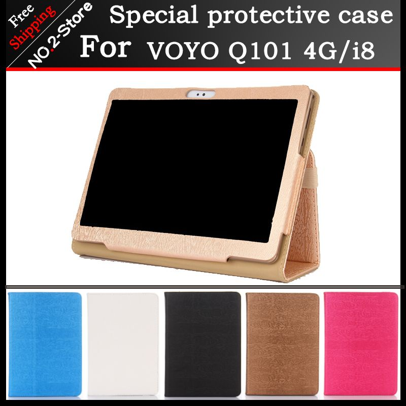 Fashion 2 fold Folio PU leather stand cover case for VOYO Q101 4G/i8 call phone 10.1inch tablet pc Multi-color optional+gift