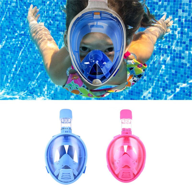 Kids Safe Full Face Mask Snorkeling Scuba Watersport Underwater Diving <font><b>Swimming</b></font> Snorkel Anti Fog Full-face Children Diving Mask