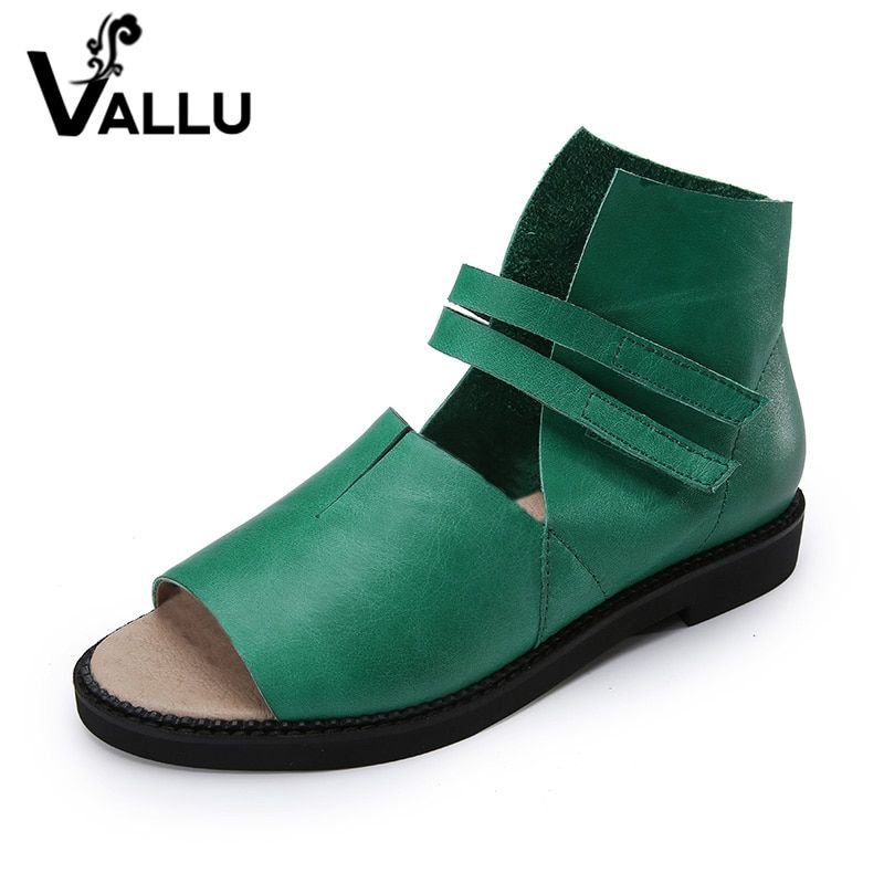 2018 Genuine Leather Women Sandals Flat Heels Peep Toes Comfortable Handmade Retro Women Summer Shoes