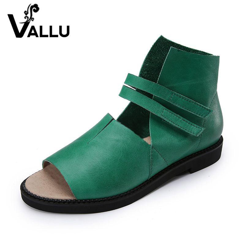 2018 Genuine Leather Women Sandals Flat Heels Peep Toes Comfortable Handmade Retro Women Summer Shoes
