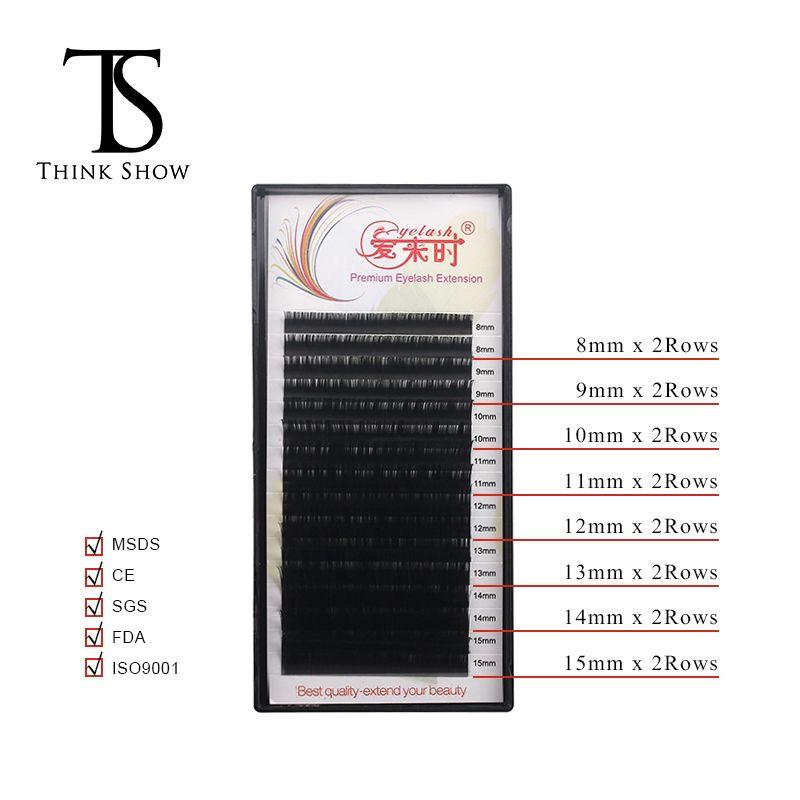 Thinkshow 16 lignes 8-15mm mélange d'extension de cils naturel Long faux cils cils individuels épais mélange de soie Extension de cils