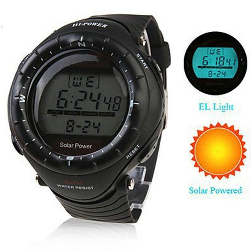 Multi-function Solar Power led Digital Sports Wrist Watch Men's Woman Unisex EL Backlight STOPWATCH 3ATM Waterproof Relogio